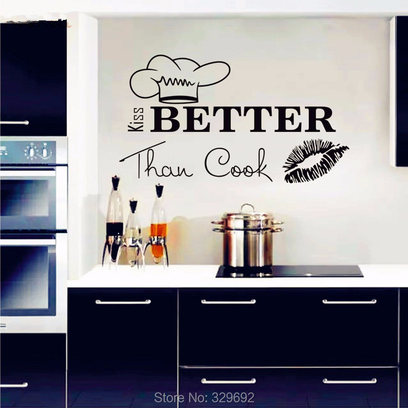 Wall Decals Quote I Kiss Better Than Cook Kitchen Wall Design Interior Vinyl Stickers Love Art Mural Kitchen Wall Decor