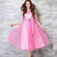 Holle-out mesh borduren vrouwen zomer ball grown dress half mouw elegante boog kant roze blauw vrouwelijke lange casual feestjurken