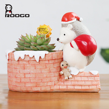 Roogo 4 Christmas style flowerpot 2017 new arrival Hedgehog house gift birthday planter succulent bonsaid flower box