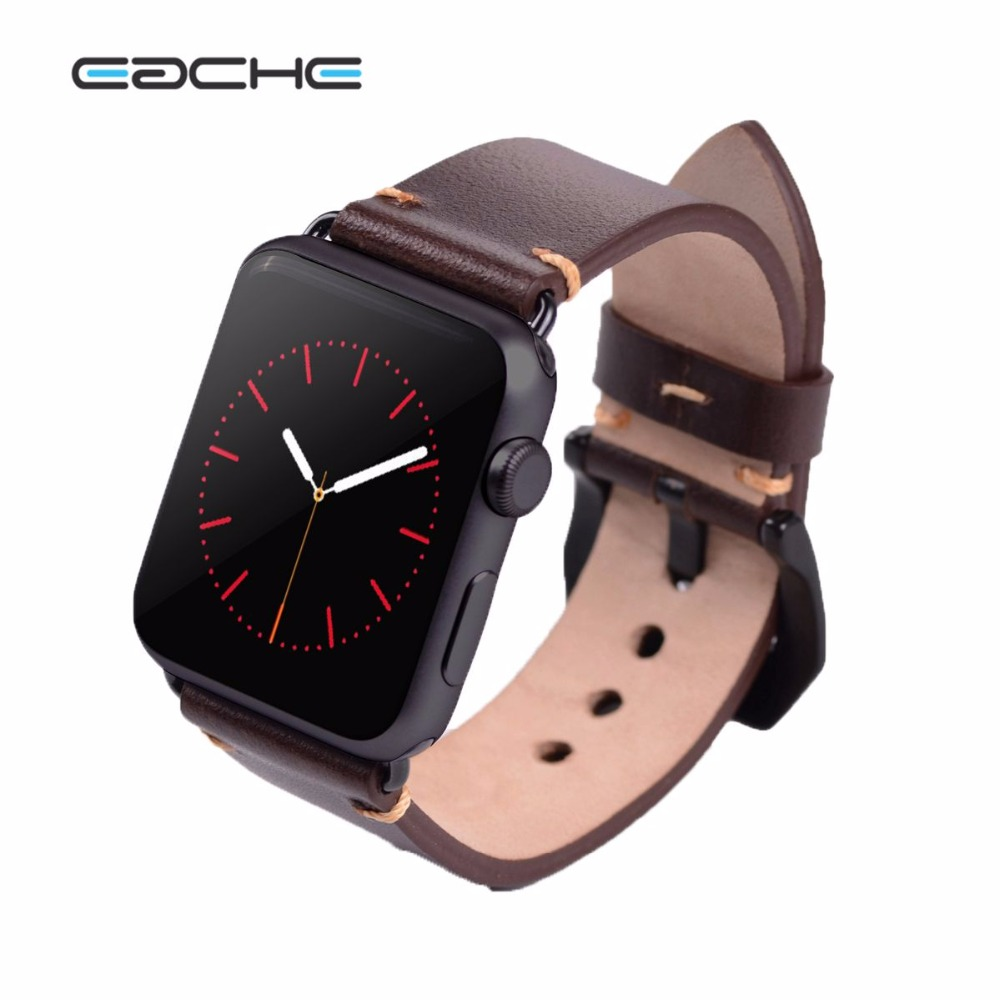 EACHE 38mm 42mm  Dark Brown Replacement watch straps Fit For Apple Watch  Vegetable tanned leather Watch Band  For Women Or Man eache 38mm 42mm dark brown replacement watch straps fit for apple watch vegetable tanned leather watch band for women or man