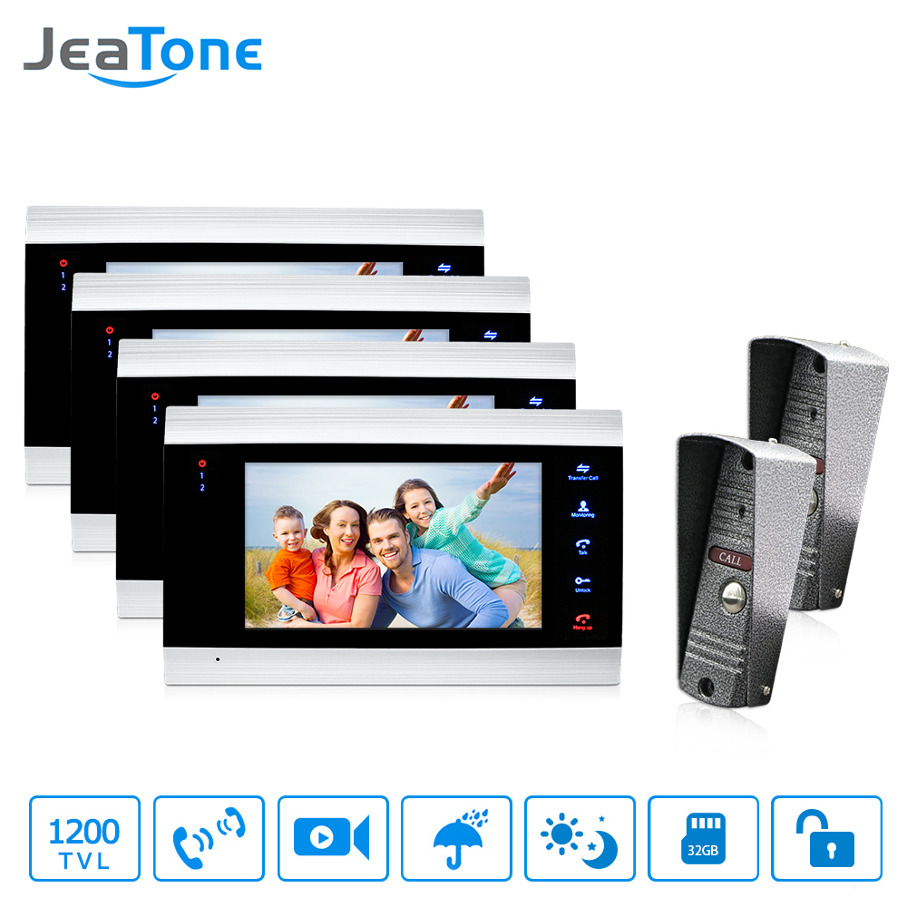 JeaTone 7 inch Video Door Phone Doorbell Intercom With 1200TVL Outdoor Camera On Door Video Intercom 2 to 4 Security System jeatone 4 inch tft wired video door phone intercom doorbell home security camera system picture memory