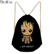 THIKIN Black Cartoon I Am Groot Drawstring Backpack for Boys Cool School Bag Kids Travel Backpacks Small Storage Small Rucksack
