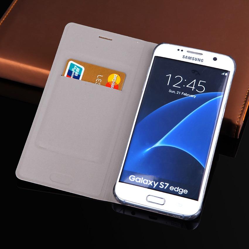 Dompet kulit tipis kasus, Flip Cover dengan pemegang kartu, Tas lengan ponsel untuk Samsung Galaxy S7 G930F G930H / S7 tepi G935F G935H