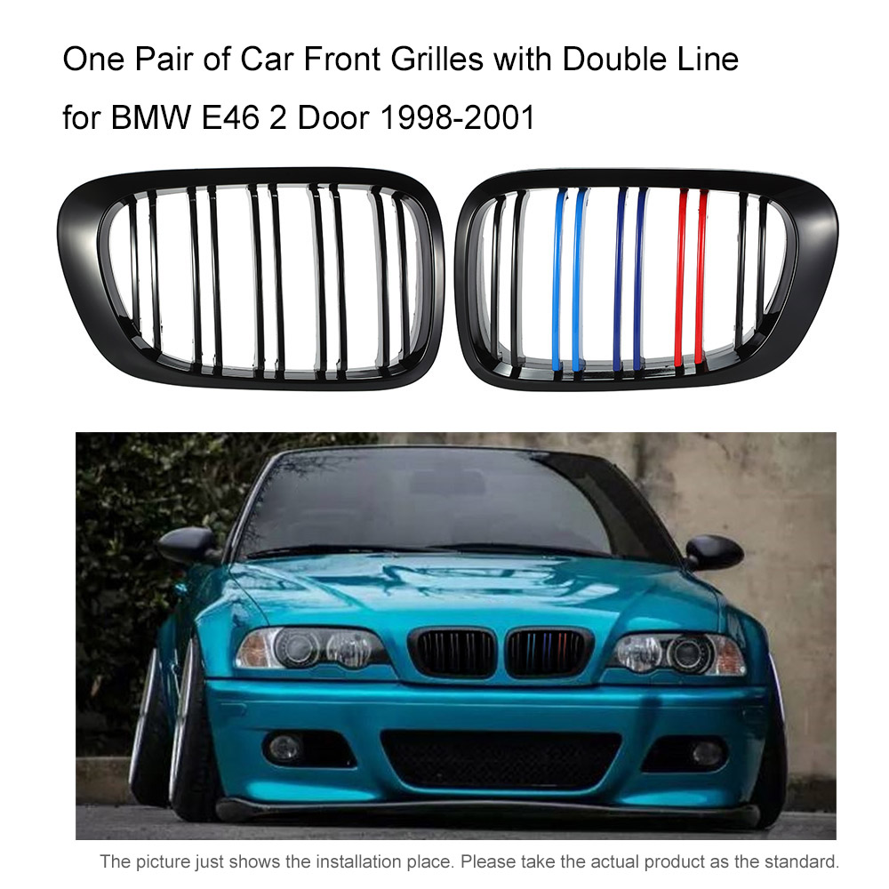 One Pair of Car Front Kidney Grille Grilles Covers with Double Line Car styling for BMW