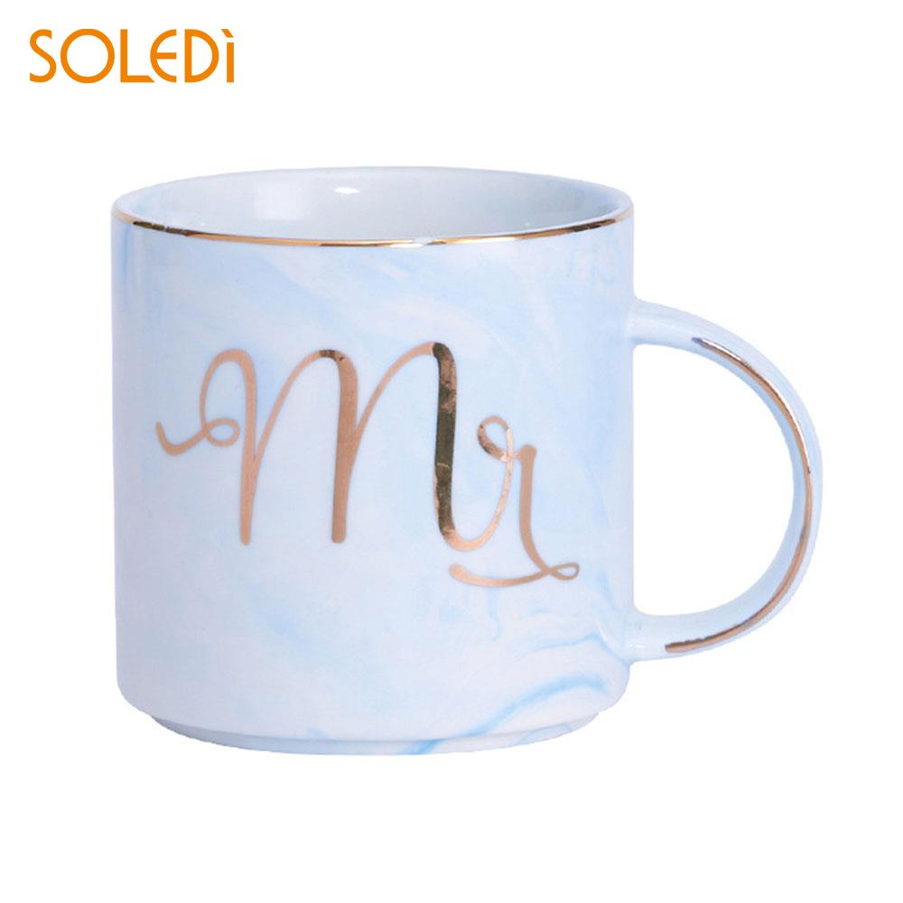 Ceramic Cup Drinking 3 Colors Couples Cup Mr. and Mrs. Mug Creative Mark Cup Ceramics European Style Gift Coffee