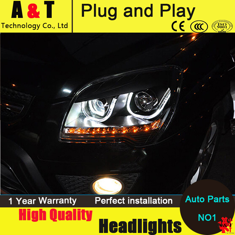Car Styling For KIA Sportage Headlight assembly Sportage led headlights 2007-2013 Angel eye led drl H7 with hid kit 2pcs.