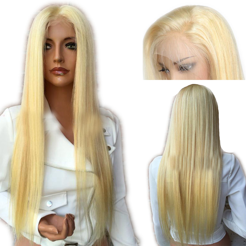 SimBeauty 4x4 Silk Top 613 Wig Blonde Lace Front Wigs For Women Brazilian Remy Silky Straight Human Hair Wigs With Baby Hair