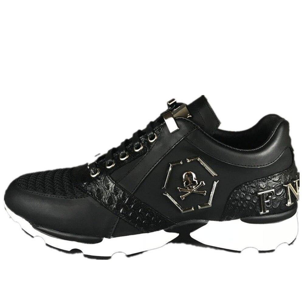 Оригинальный кожи F. N. JACK Мужская обувь кроссовки модные череп кроссовки Лев брендовая кожаная