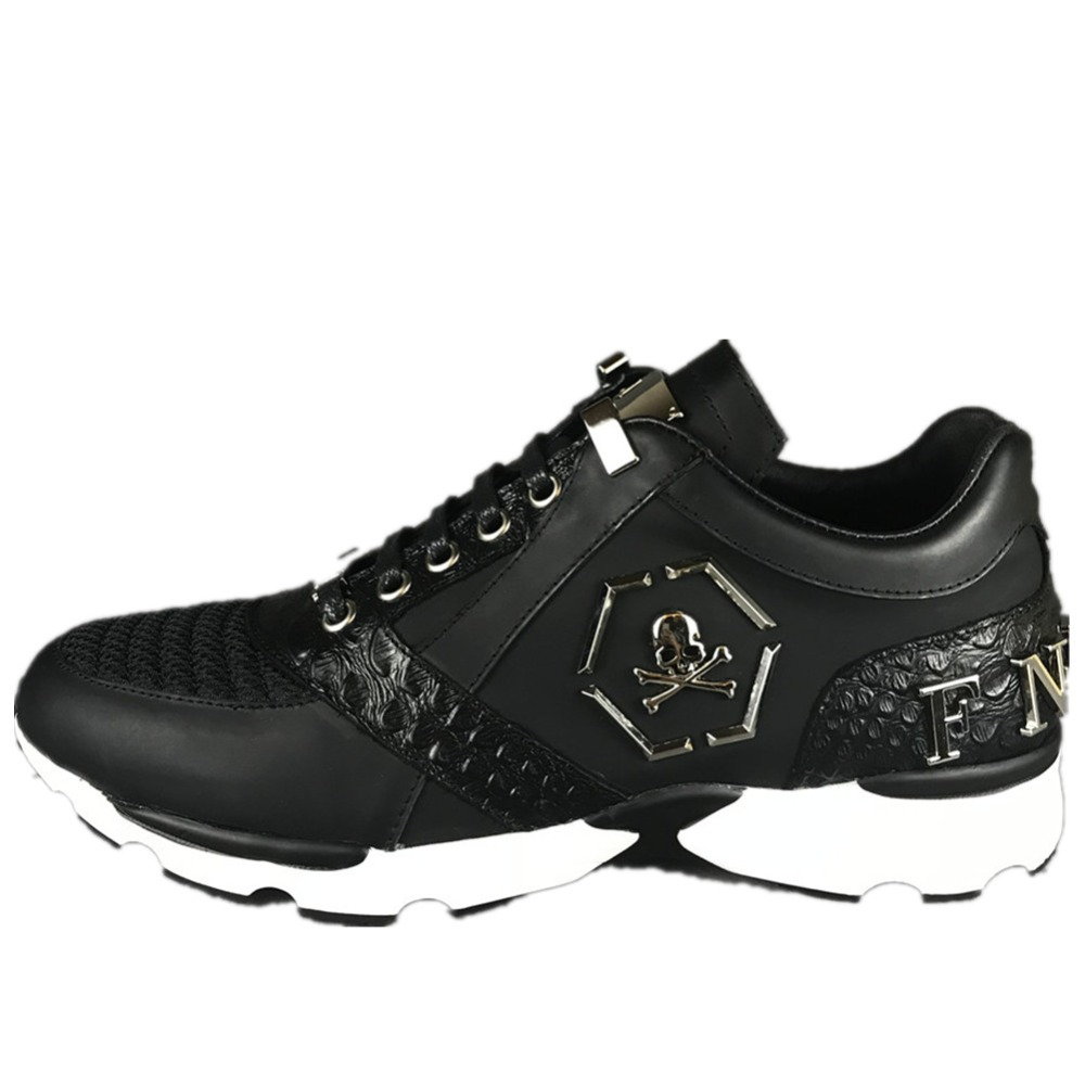 Original Skin F.N.JACK Men Shoes Running Fashion Skull Sneaker Lion Trainers Brand Leather