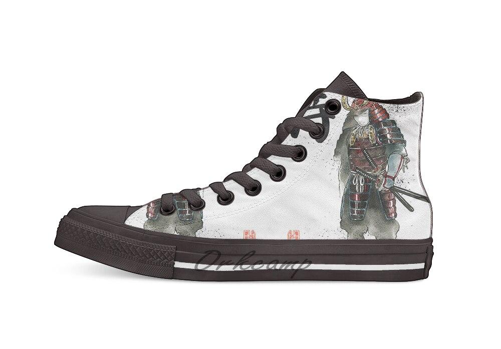 Японская каллиграфия с бронированным Самураем с мечом; новый дизайн; Повседневная парусиновая обувь; обувь на заказ; Прямая поставка