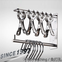 Wall Mounted Clothes Hanger Rack Pegs Storage System Stainless Steel Garment Hooks Space Saver Clothing And