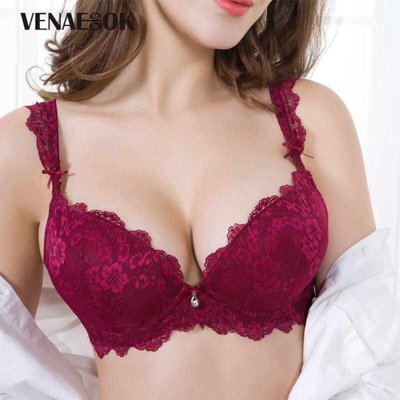 Buy Europe Girl Sexy Bra Set Push Brassiere Deep V Brand Lingerie Embroidery Bras Thick Cotton Women Underwear Set Lace Black