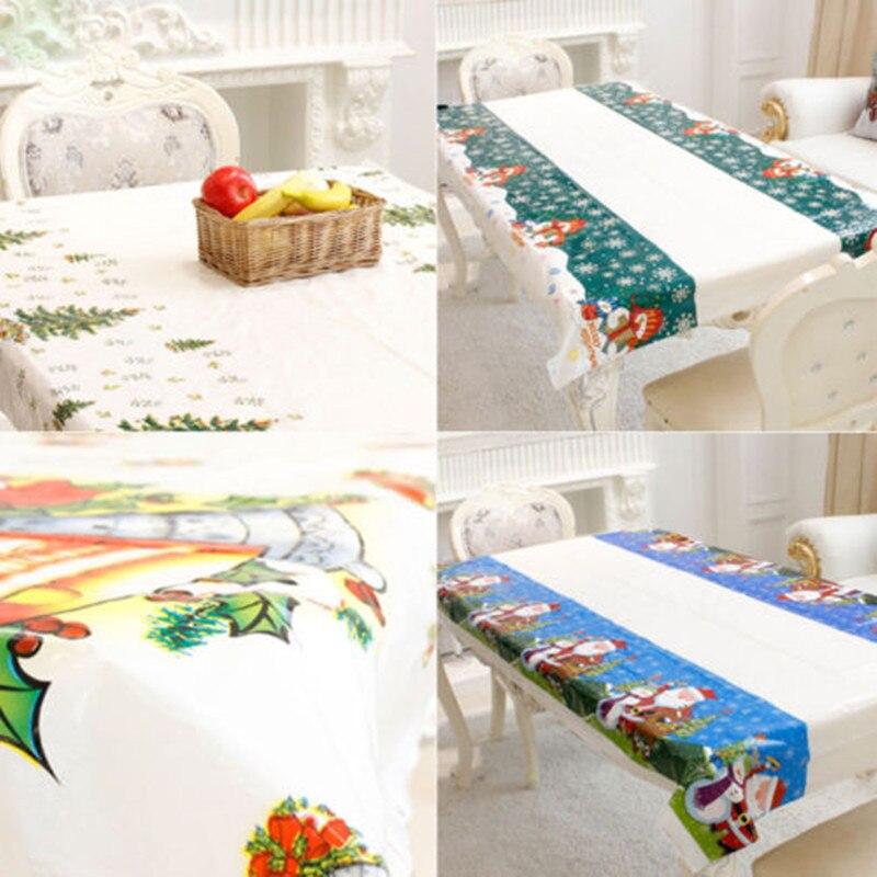 Disposable Cartoon Festive Christmas PVC Oilcloth Festive Rectangle  Christmas Table Cloth