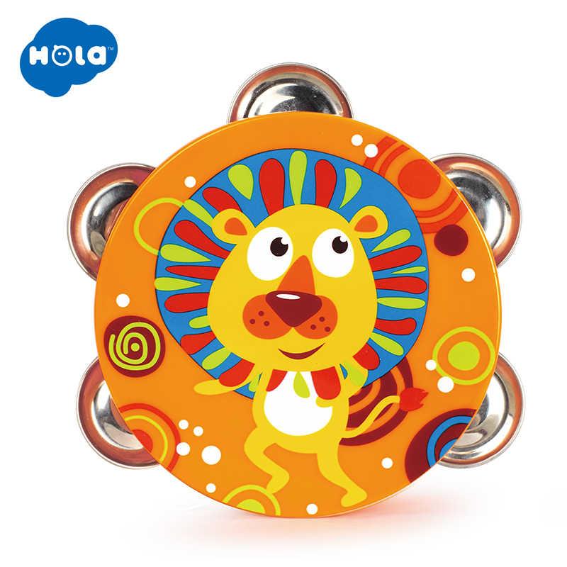 1PC HUILE おもちゃ 3102B ベビーミュージカルドラムタンバリン早期学習教育おもちゃハンドヘルドタンバリンドラムの鐘ガラガラのおもちゃ