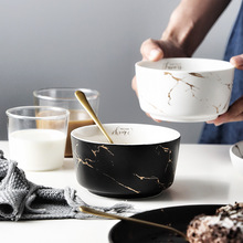 Ceramic bowl Nordic marble golden rice bowl snack bowl breakfast bowl soup bowl 5 6 8 inch japanese cherry blossom ceramic ramen bowl large instant noodle rice soup salad bowl container porcelain tableware