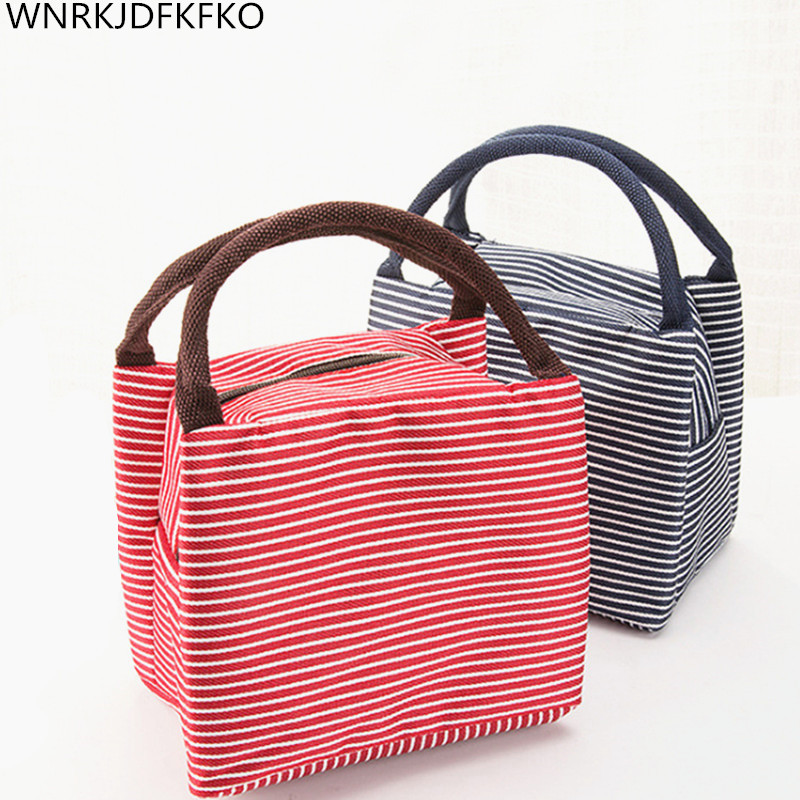 Waterproof Stripe Portable Insulated Oxford Cloth Food Picnic Bags For Women Children Men Cooler Bag Refrigerator Thermo Bag  Lu