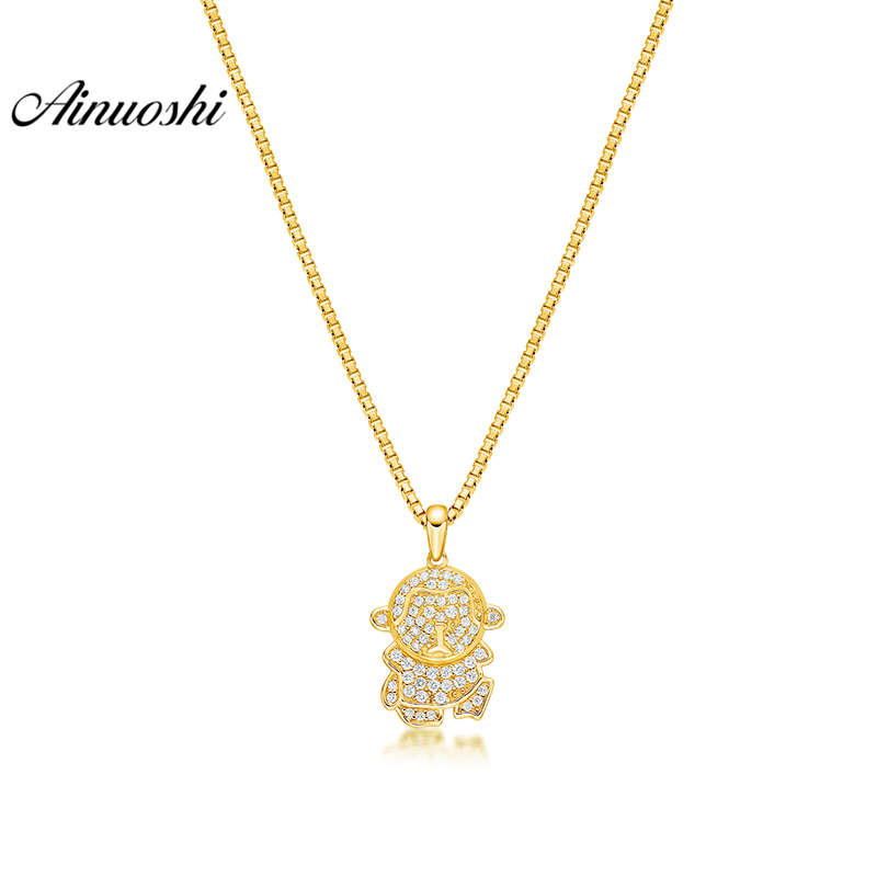 все цены на AINUOSHI 10K Solid Yellow Gold Pendant Little Figure Pendant SONA Simulated Diamond Women Men Jewelry Cute Doll Separate Pendant онлайн