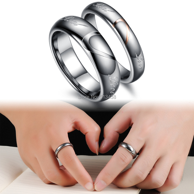 Choose Wife Husband Love Heart Tungsten Steel Comfort Wedding Bands Promise Ring