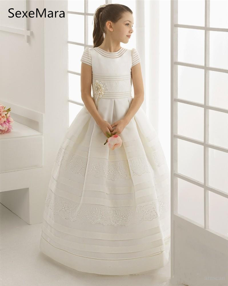Flower     Girl     Dress   For Wedding White Ivory First Communion   Dresses   Pageant Gown   Girls   Birthday Party Formal Wear Custom Made Size