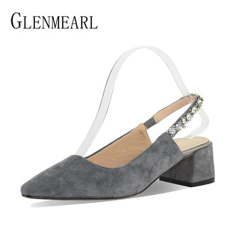 Women Pumps Heels Shoes Woman Crystal Eleganet Thick Heel Party Pumps Female Black Spring Pointed Toe Slingbacks Shoes WeddingCE