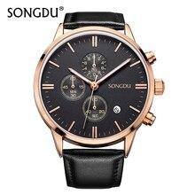 Men Watch Top Luxury Brand SONGDU Fashion Clock Genuine Leather Strap Waterproof Multifunction Quartz Wristwatches Gift Hot Sale