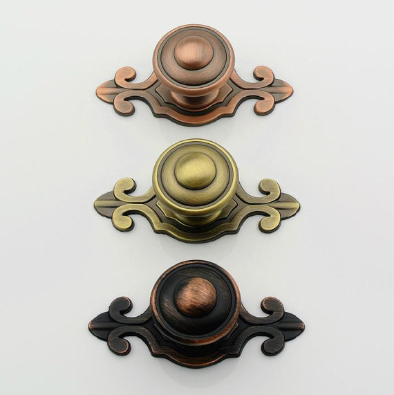 Antique Bronze Copper Dresser Drawer Pull Handles Knob Backplate Metal Pulls / Vintage Style Cabinet Handle Pull Knobs Hardware dresser pulls drawer pull handles square kitchen cabinet decorative knobs antique bronze vintage style furniture hardware