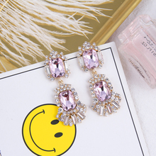 AE-CANFLY Luxury Vintage Pink Rhinestone Earrings Crystal Earrings  For Women Drop Accessories Party Gift Bijoux