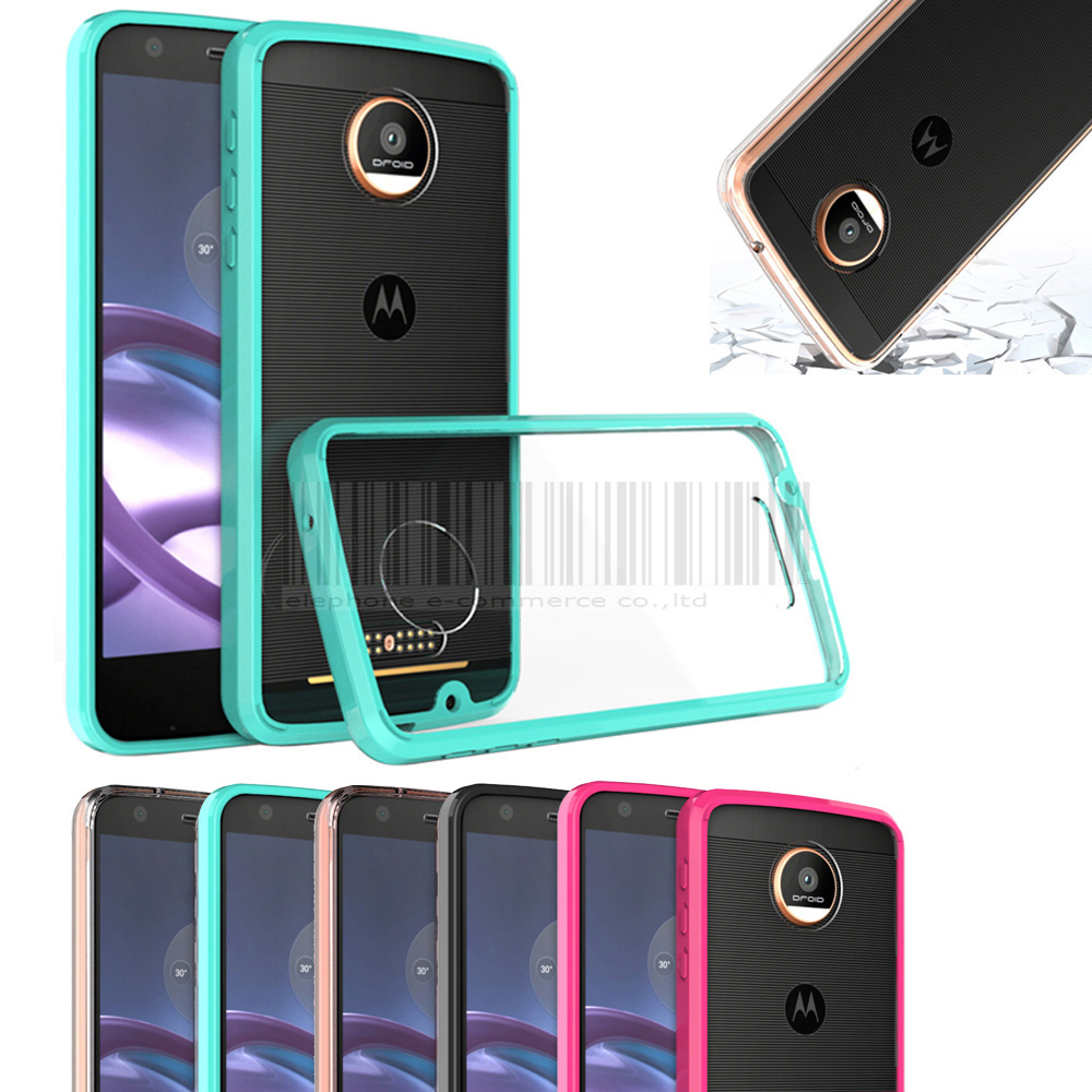 reputable site de517 4a556 US $2.43 35% OFF|Rugged Hybrid Shockproof TPU+Acrylic Clear Case For  Motorola Moto Z XT1650/Moto Z Force Droid Crystal Protective Cover-in  Fitted ...