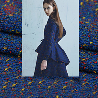 American style blue green weaving tweed fabric for suit coat dress weighted winter fall fabrc telas tecidos stoffen tissu SP5531