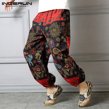Inrerun Pants Printed Hip-hop 2020 Cotton China Ethnic Print Loose New Elastic Waist Pants Men's Jogging Pantalon Hombre 5XL