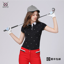 2017 new golf shirt summer short-sleeve T-shirt golf sports training clothes lady polo shirt white black print quick dry girl