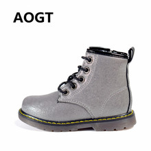купить AOGT Children Boots PU Leather Waterproof Martin Boots Autumn/Winter Fashion Kids Baby Boots Brand Girls Boys Shoes Rubber Boots дешево