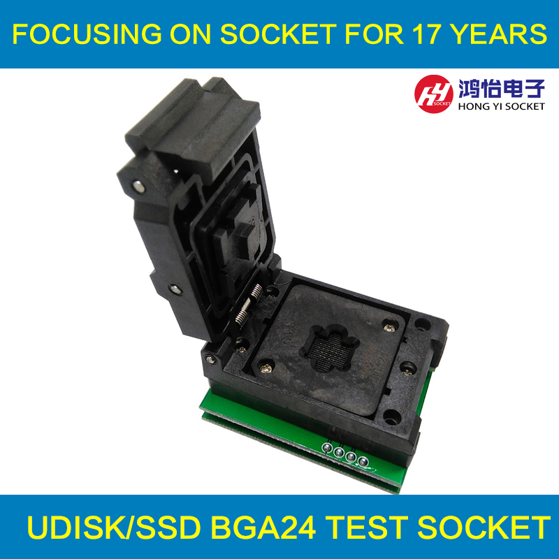 BGA24 to DIP8 1.0MM Programming Socket IC size 6*8 mm/BGA24 IC Test Socket /BGA24 to 8 double-board burning socket ic qfp32 programming block sa636 block burning test socket adapter convert