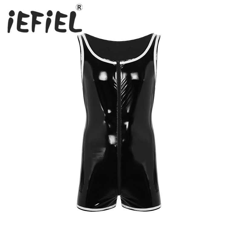 New Arrival Black Mens Wet Look Patent Leather Sleeveless Front Zipper Boxer Briefs Leotard Nightwear Clubwear Bodysuit Jumpsuit