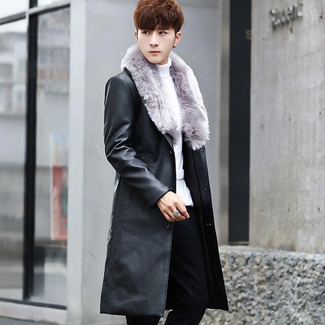 3ca643da3b6 Fur Coat Mens Long Leather Trench Coats with Big Fur Collar Black Gentleman  Long Leather Jackets Luxury Fashion Long Coat White