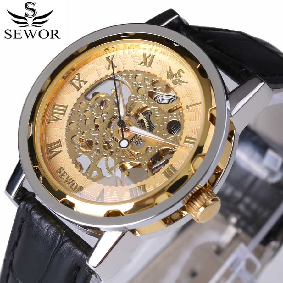 Roman Numerals SEWOR Top Brand Luxury Fashion Men Watches Mechanical Skeleton Watch Steampunk Leather Strap Transparent dial roman numerals skeleton watches steampunk pocket watch with chain 2 sides open case luxury brand mechanical pocket watch