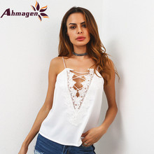 Ahmagen 2017 Sexy Summer Lace Patchwork Bandage Satin Tank Top Women Hollow Out Spaghetti Strap Top Vest Sleeveless Camisole