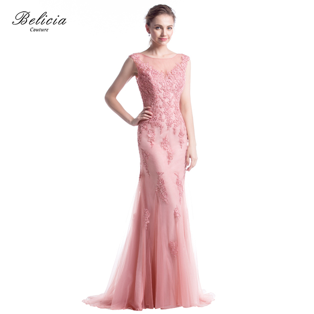 Belicia Couture Women Sleeveless Backless Tulle Mermaid Beading Lace Evening  Dresses Party Prom Dress with Small Trailing Tail b0deefa16933