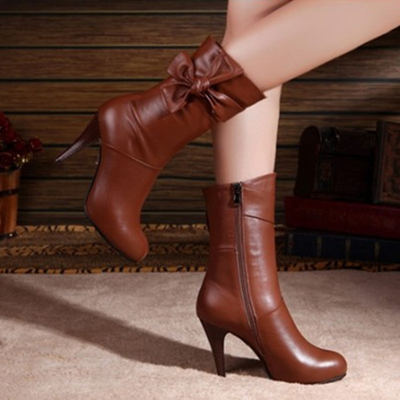 Ladies hand-made winter customized mid-calf boot full genuine Real leather thin high heel boots big size women shoes 34-46 Botas women real genuine leather flat mid calf boots autumn winter half short boot frenal fashion footwear shoes r8285 size 34 39