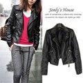 Women leather Jacket Coat XS-2XL slim Short Paragraph diagonal Zipper outerwear coats new 2016 autumn motorcycle jacket us403