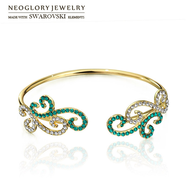 Neoglory Austria Rhinestone Light Yellow Gold Color Back Hand Bangle Grace  Curved Shape Exquisite Lady Trendy Classic Sale Party d26f36a1c4d2