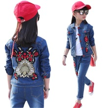 цены Children Clothing Set for Boys Girls Outfits Denim Jacket + Jeans 2pcs Spring Autumn Costume Teenage Kids Suit for 4-14 Years