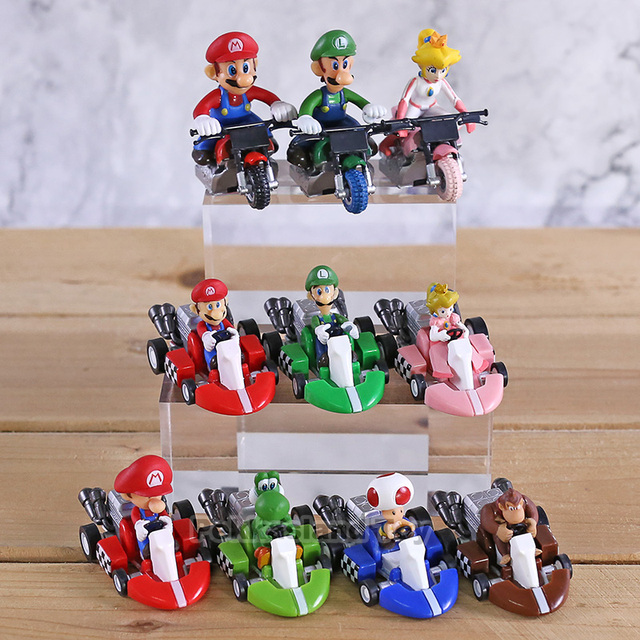 10 Pcs/ set Anime Figura Super Mario Bros Kart Pull Back Car Cute PVC Action Figure Doll Collectible Model Baby Toy For Kids