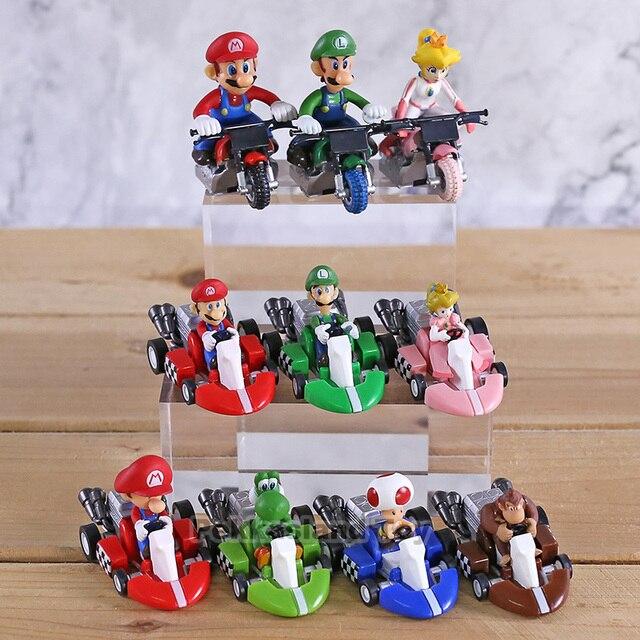 10 stks/set Anime Figura Super Mario Bros Kart Pull Back Auto Leuke PVC Action Figure Pop Collectible Model Baby Speelgoed voor Kids