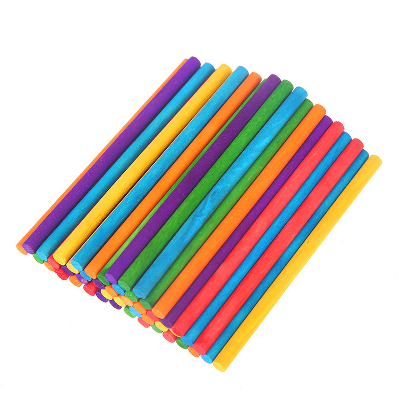 50Pcs DIY Wooden Counting Stick Mathematical Colorful Hand Crafts Creative Montessori Early Educational Toys For Children Kids
