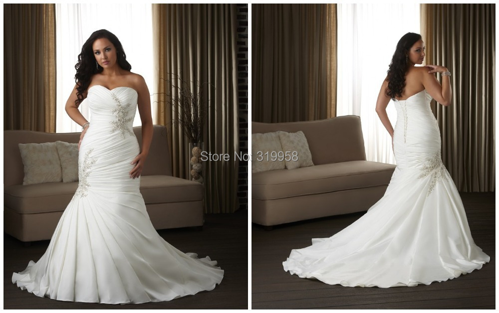 Cheap 2015 Long Mermaid Sexy Sweetheart Pleats Court Train
