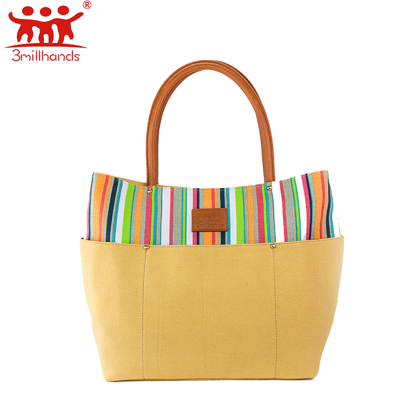 ФОТО Limited Edition 3Millhands canvas women handbag multi color striped embroidery fashion tote six silt pocket women bags designer