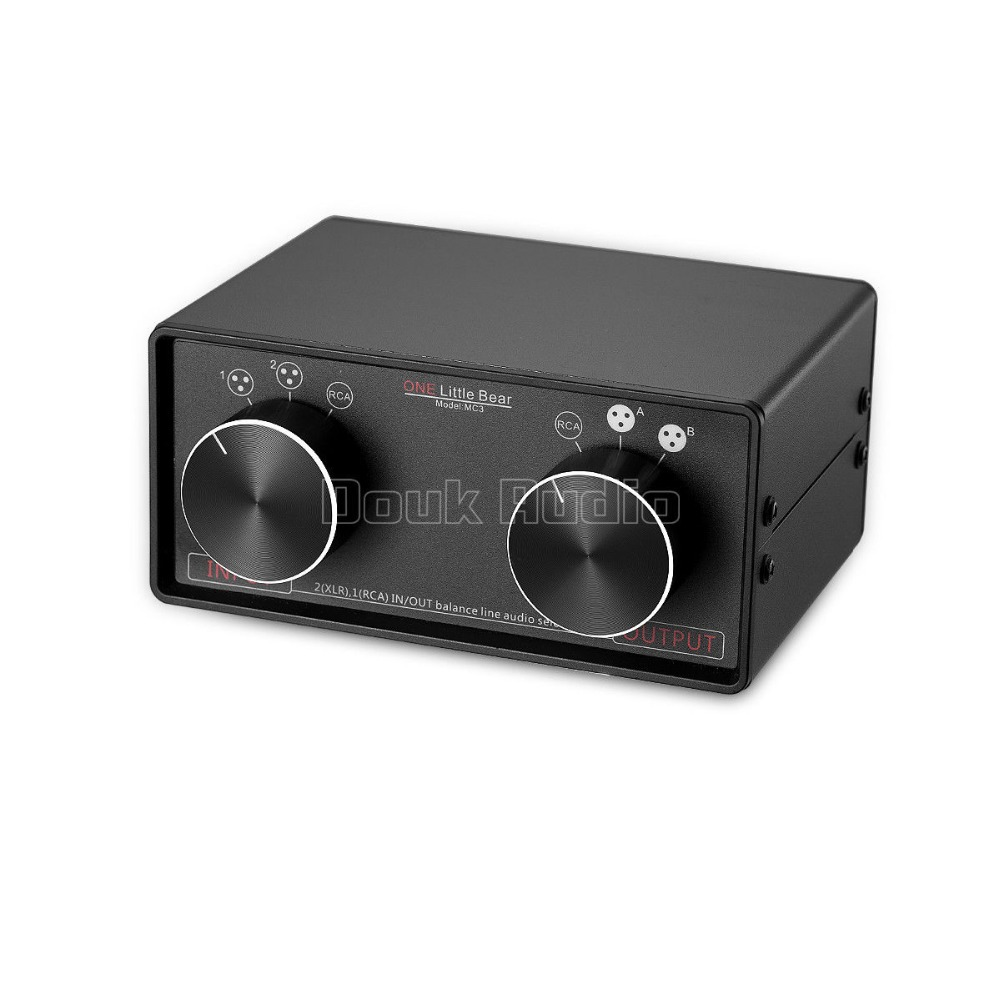 3-IN-3-OUT Bilanciato XLR/RCA Stereo Audio Converter Selector Box Passiva Preamp Per Amplificatore Casa