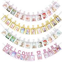 Babyshower 12 marco de fotos de meses Banner primeros adornos de feliz cumpleaños 1er bebé niño niña My 1 año suministros de fiesta de cumpleaños