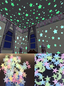 3D Star and Moon Energy Storage Fluorescent Glow In the dark Luminous on Wall Stickers